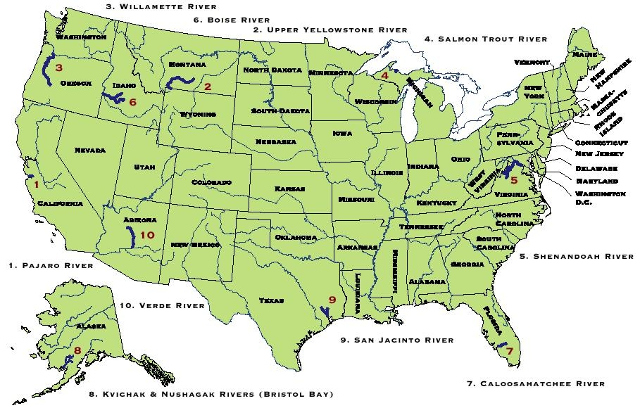 EndangeredRiversBigMapJPG - Rivers usa map